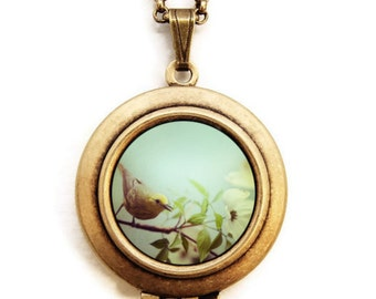 Twitter - Bird Photo Locket - Wearable Photo Locket Necklace