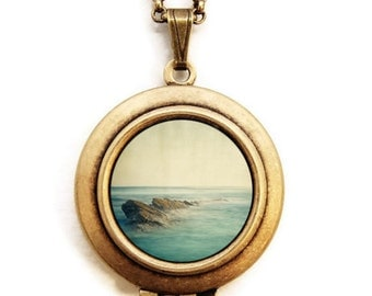 Be Here Now - Seascape Ocean Photo Locket Necklace