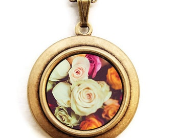 Paris Roses - Romantic Flowers Photo Locket Necklace