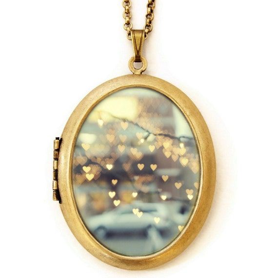 Holding Onto Love - Photo Locket - Bokeh Hearts Wearable Keepsake Locket Necklace