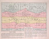 1889 Map - Isotherms and Climatic Zones - World Chart - Antique World Atlas Map - 12 x 9