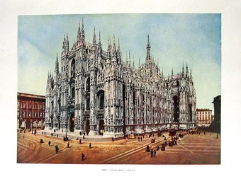 1906 Antique Illustration - The Cathedral in Milan - 11 x 9
