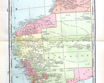 Large Map of West Australia - 1901 Antique Map from World Atlas - 22 x 14