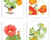 "Set of 4 Art Prints: Birds in Gardens, 8"" x 10"" Reproductions"