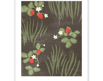 Strawberry Patch Block Print Art Reproduction