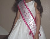 Hot pink Birthday Girl Satin sash