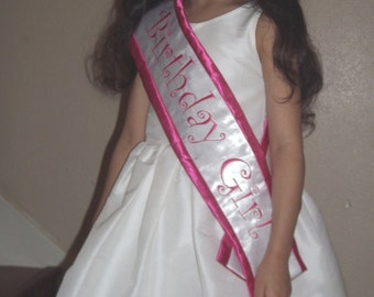 Hot pink Birthday Girl Satin sash
