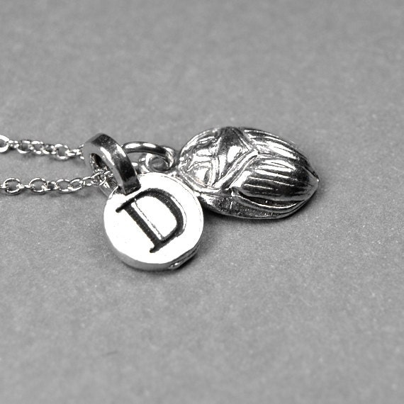 scarab necklace scarab beetle charm scarab silver