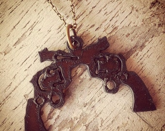 READY TO SHIP Double Pistol Necklace Crossed Pistol Guns Cowgirl Rustic Recycled Aged Metal Pendant Charm Necklace