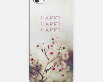 floral phone case- pink- white- pretty flower phone cover- typography- quote- daisies photography
