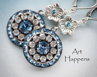 """Breezey Blue Crystal Earrings with Swarovski Crystals and Silver Flower Accents, """"Shoreline Wanderings"""""""
