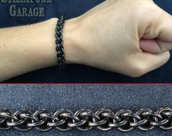 16g Bracelet - BLACK Steel - Jens Pind Linkage (JPL) - Stainless Chainmaille
