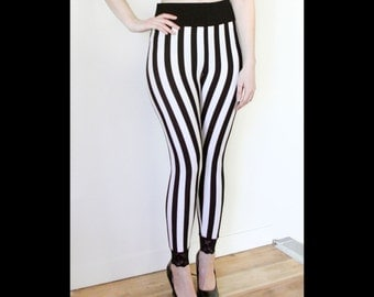 Plus size black and white striped pants