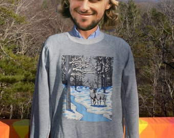 vintage 80s sweatshirt DEER nature heathered gray raglan crew neck soft thin Medium Large 70s
