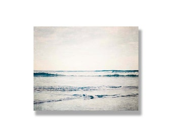 Beach photo canvas, canvas gallery wrap, blue beach decor, rolling waves, sea, ocean art, beach art, ocean canvas decor - Winter Song