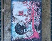 "Owl Tree Batik Print Fabric Patch 7 x 10"""