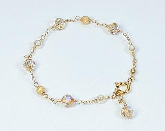 Champagne Crystal Bracelet, Champagne Bridal Jewelry, Rose Gold, Gold Filled or Silver, Swarovski Crystal, Dainty Wedding Bracelet