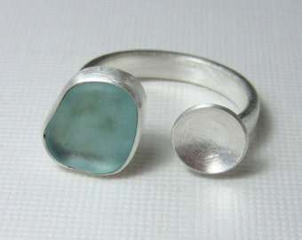 Two Part Ring, Aqua Colored Glass Ring, Sea Glass Ring, Silver Disk Ring, Beach Ring
