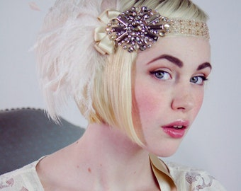 Starlet Antique Gold And Ivory And Blush Ostrich Feather Flapper Headband