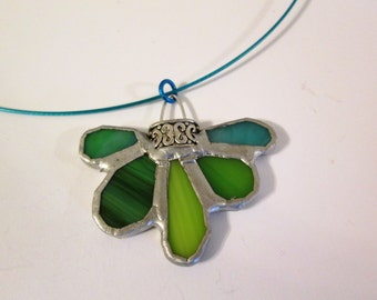 Stained Glass Pendant with Lovely Green Petals - Mossy Creek