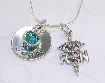 RN Nurse Necklace Personalized Jewelry Hand Stamped Sterling Silver Charm Swarovski Birthstone RN Graduation Gift Nurse Charm