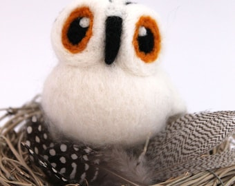 Needle Felted Snowy Owl Ornament Bird Decoration, Felt Bird