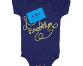 Brooklyn Cassette Tape - Baby Onepiece Bodysuit Turntable Record Music Retro 80s Vinyl Oldschool Mixtape New York Ny Bk Romper Jumper Onesie