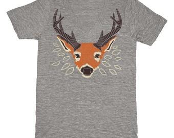 SALE Deer V-neck T-shirt - Unisex Tri Blend Gray Vneck Cute Forest Leaves Woodland Orange Bambi Antlers Buck Folk Folkloric Triblend Tshirt