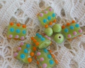 PIF Destash Lampwork and Glass Beads Lime Green Teal Orange Orchid (Lavenderish) Pillow and Rounds