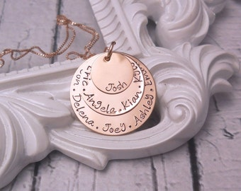 Kids name necklace, Personalized Mothers Necklace, Family tree necklace,  Handstamped Necklace, Rose Gold Filled Layered gift for mom