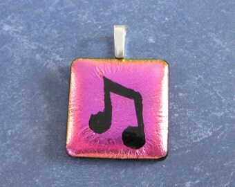 Music Note Necklace, Pink Dichroic Glass Pendant, Neon Pink, Gift for Music Teacher, Fused Glass Jewelry, Musical Jewelry - Janessa -4552-3