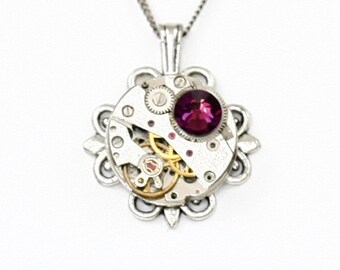 Steampunk Ornate Filigree Silver Necklace with Authentic Vintage Watch and Plum Purple Amethyst Swarovski Crystal by Velvet Mechanism
