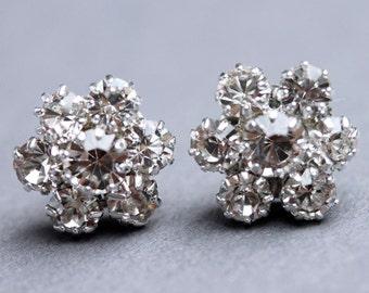 Adele Inspired Cluster Flower Stud Earrings Crystal Stud Wedding Earrings Rhinestone Wedding Stud  Earrings