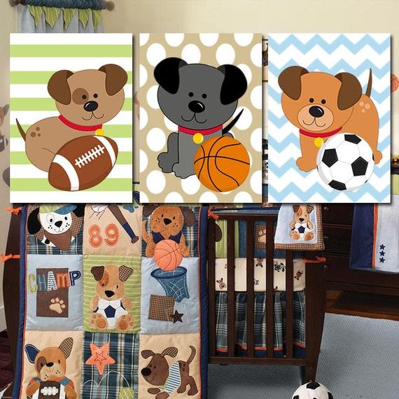 dogs wall art puppy sports artwork baby boy nursery child. Black Bedroom Furniture Sets. Home Design Ideas