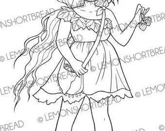 Digital Stamp Strawberry Pixie, Digi Stamp Nature Fairy, PNG, Fruits, Strawberries, Flower Fantasy Coloring Page, Instant download