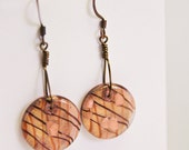 Copper Sparkle Glass Earrings, Free Shipping, Laura Mae Jewelry, OOAK