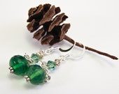 RESERVED: Christmas Fern Green Earrings, OOAK, Chain Detail, Free Shipping, Laura Mae Jewelry