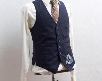 Men's Suit Vest / Vintage Navy Pinstripe Waistcoat / Screen Printed Celtic Knot / Size 38 Small Medium