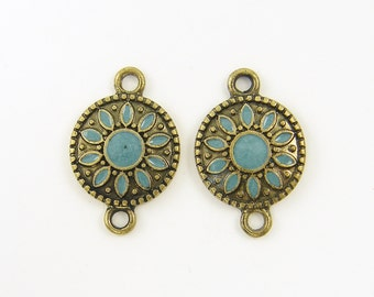 Pair of Teal Turquoise Antique Brass Boho Jewelry Connector Links Earring Finding Enamel Charm Drop |B14-4|2