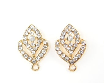 Wedding Jewelry Clear Rhinestone Gold Ornate Earring Posts with Loop Bridal Earring Findings |G18-7|2