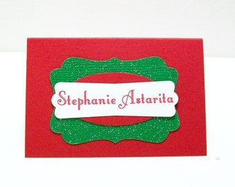 Christmas Place Cards - Holiday Place Cards - Red and Green Seating Cards - Personalized Name Cards for Your Dinner Party