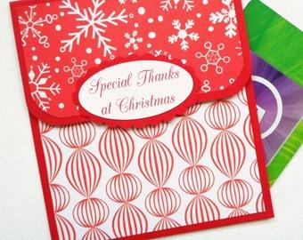 Holiday Gift Card Holder - Christmas Tip Envelope - Christmas Thank You Card - Thank You Gift Card Envelope - Babysitter, Tutor, Coach