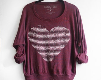 Maroon Red Women's Animal Lover Heart Sweatshirt, Lightweight Pullover, hygge, teen girl birthday Gift for her, Slouchy, lazy, heart shirt