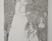 RESERVED chrysanthemums - an original drawing in pencil - dreamer portrait