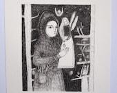 winter song - an original ink drawing - folk art illustration