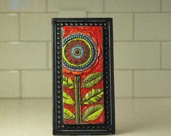 Mosaic Art Flower Mosaic Tile Mosaic Wall Art Raku Clay Tile Mosaic Framed Art Colorful Boho Art Pottery Gift for Gardener Gift for Boss