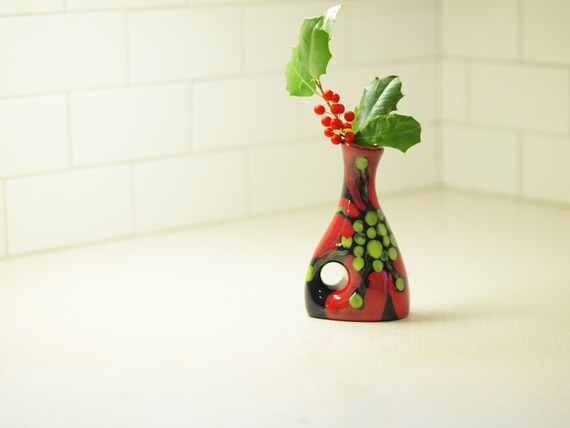 Small Vase - Red Poppy Small Funky Vase - Colorful Ceramic Pottery for Home Decoration or Holiday Gift Giving   P-366