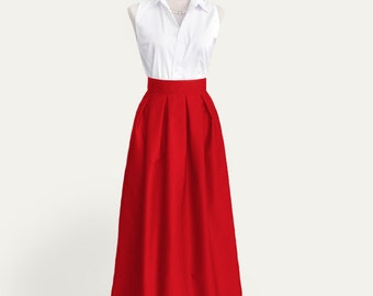 Fully lined floor-length pleated cotton skirt with pockets in red - full length, maxi skirt, long skirt in black, gray, pink, green and more