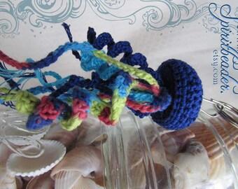 Navy Surf Beach Party Crochet Jellyfish Keychain Zipper Pull Purse Charm