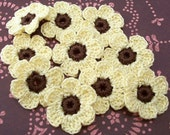 Crochet Maize and Fudge Brown Flowers